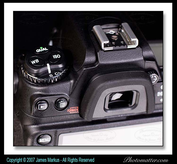 Photo of Nikon D300 Mode Dial, Hotshoe, and Eyepiece
