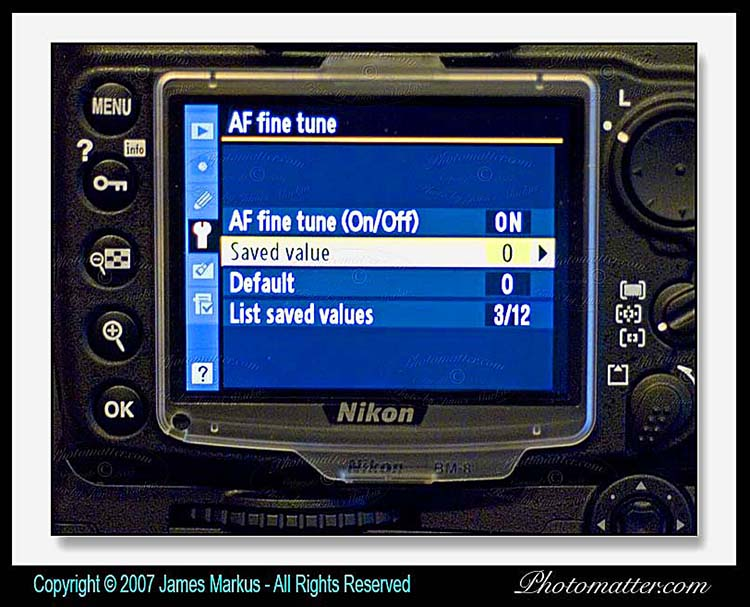 Nikon D300 camera Auto Focus Fine Tuning